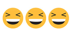betekenis van afkorting xd uitgebeeld door 3 gele xD smileys op rij
