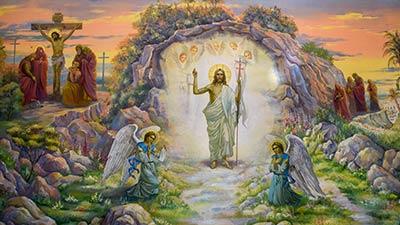 betekenis van pasen uitgebeeld door Jezus Christus die opstaat en de grot uitloopt