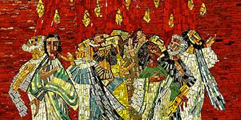 betekenis van pinksteren uitgebeeld met mozaïek van verschillende kleuren steen