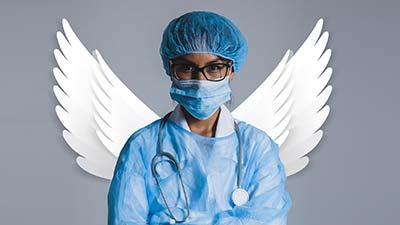 betekenis triage uitgebeeld door dokter met engelenvleugels
