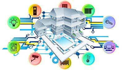 betekenis van smart home uitgebeeld door smartphone door huis met iconen